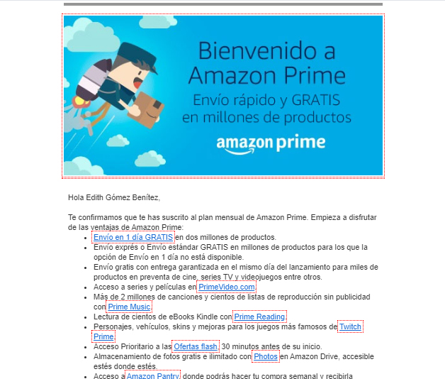 example Amazon Prime welcome email
